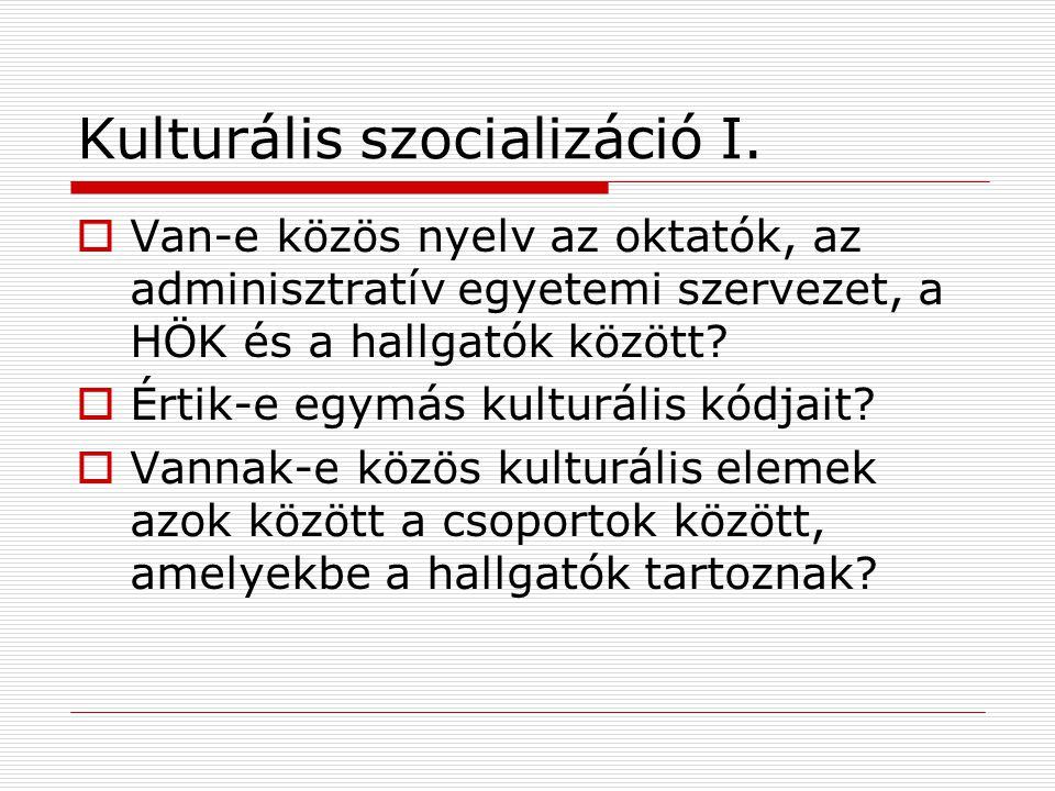 Kulturális szocializáció I.  Van-e közös nyelv az oktatók, az adminisztratív egyetemi szervezet, a HÖK és a hallgatók között?  Értik-e egymás kultur
