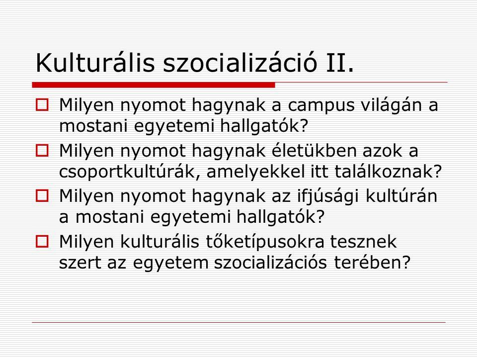 Kulturális szocializáció II.  Milyen nyomot hagynak a campus világán a mostani egyetemi hallgatók?  Milyen nyomot hagynak életükben azok a csoportku