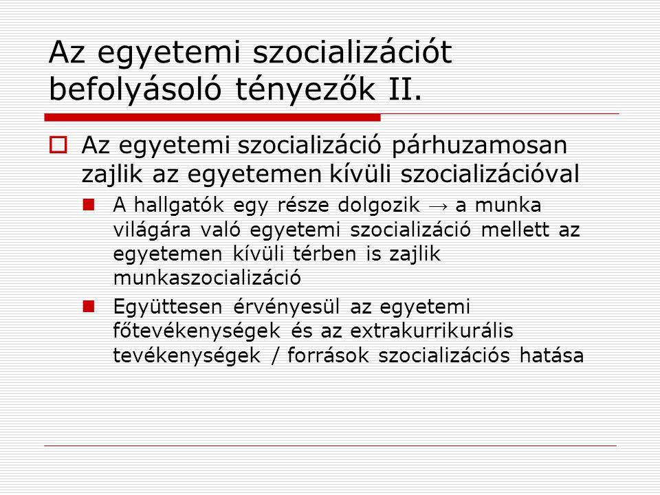 Az egyetemi szocializációt befolyásoló tényezők II.