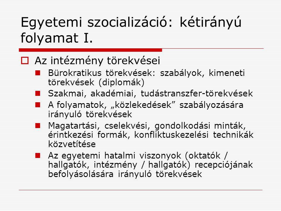 Egyetemi szocializáció: kétirányú folyamat I.  Az intézmény törekvései Bürokratikus törekvések: szabályok, kimeneti törekvések (diplomák) Szakmai, ak