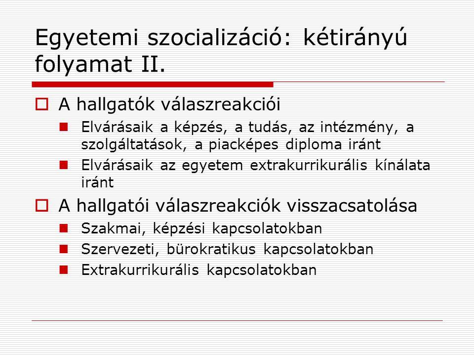 Egyetemi szocializáció: kétirányú folyamat II.  A hallgatók válaszreakciói Elvárásaik a képzés, a tudás, az intézmény, a szolgáltatások, a piacképes