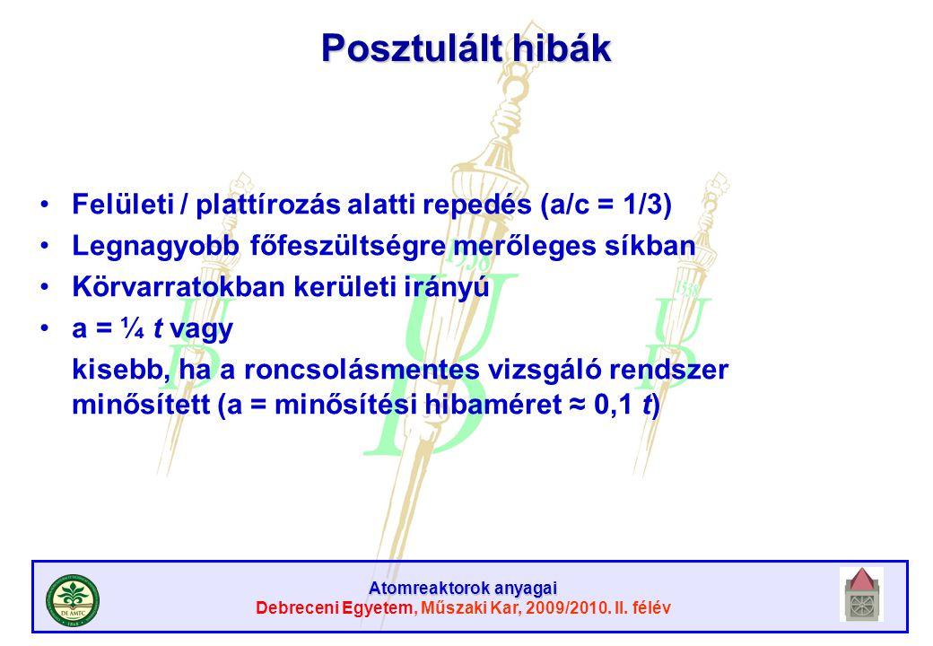Atomreaktorok anyagai Debreceni Egyetem, Műszaki Kar, 2009/2010. II. félév Posztulált hibák Felületi / plattírozás alatti repedés (a/c = 1/3) Legnagyo