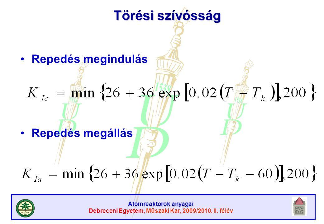 Atomreaktorok anyagai Debreceni Egyetem, Műszaki Kar, 2009/2010. II. félév Törési szívósság Repedés megindulás Repedés megállás