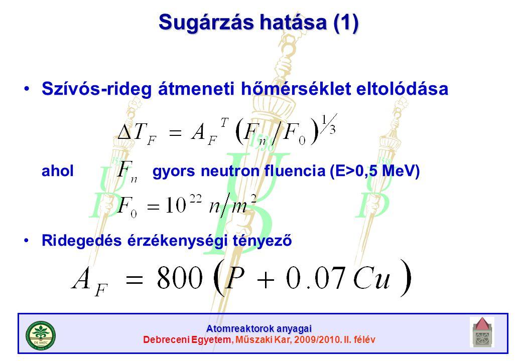 Atomreaktorok anyagai Debreceni Egyetem, Műszaki Kar, 2009/2010. II. félév Sugárzás hatása (1) Szívós-rideg átmeneti hőmérséklet eltolódása ahol gyors
