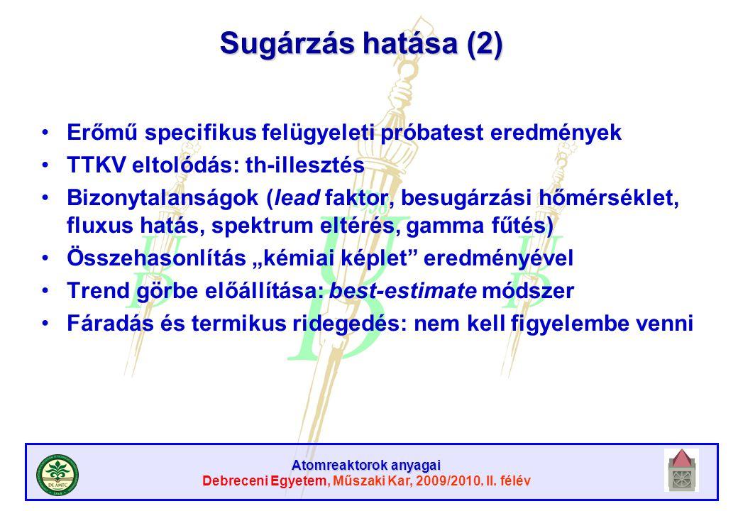 Atomreaktorok anyagai Debreceni Egyetem, Műszaki Kar, 2009/2010. II. félév Sugárzás hatása (2) Erőmű specifikus felügyeleti próbatest eredmények TTKV