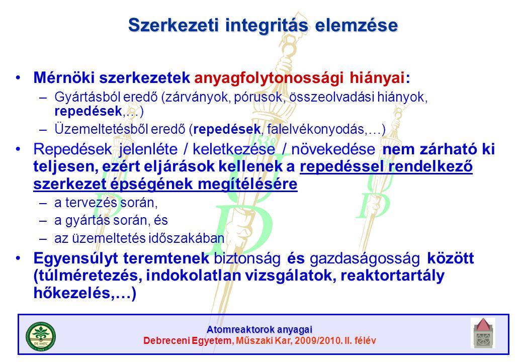 Atomreaktorok anyagai Debreceni Egyetem, Műszaki Kar, 2009/2010. II. félév Szerkezeti integritás elemzése Mérnöki szerkezetek anyagfolytonossági hiány