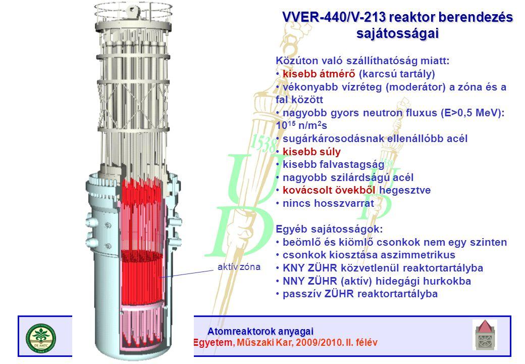 Atomreaktorok anyagai Debreceni Egyetem, Műszaki Kar, 2009/2010. II. félév térfogat- kiegyenlítő aktív zóna VVER-440/V-213 reaktor berendezés sajátoss