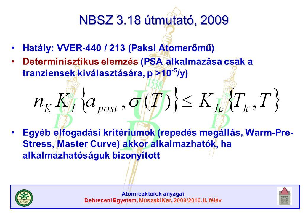 Atomreaktorok anyagai Debreceni Egyetem, Műszaki Kar, 2009/2010. II. félév NBSZ 3.18 útmutató, 2009 Hatály: VVER-440 / 213 (Paksi Atomerőmű) Determini
