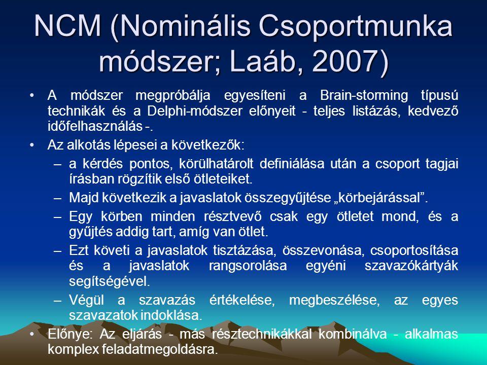 NCM (Nominális Csoportmunka módszer; Laáb, 2007) A módszer megpróbálja egyesíteni a Brain-storming típusú technikák és a Delphi-módszer előnyeit - tel