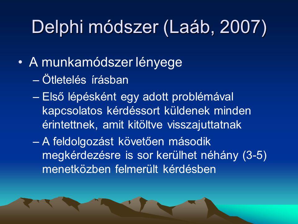Delphi módszer (Laáb, 2007) A munkamódszer lényege –Ötletelés írásban –Első lépésként egy adott problémával kapcsolatos kérdéssort küldenek minden éri
