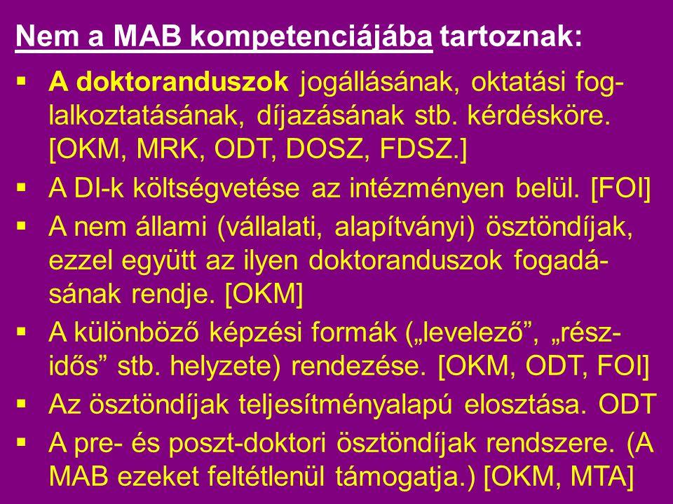 Nem a MAB kompetenciájába tartoznak:  A doktoranduszok jogállásának, oktatási fog- lalkoztatásának, díjazásának stb.