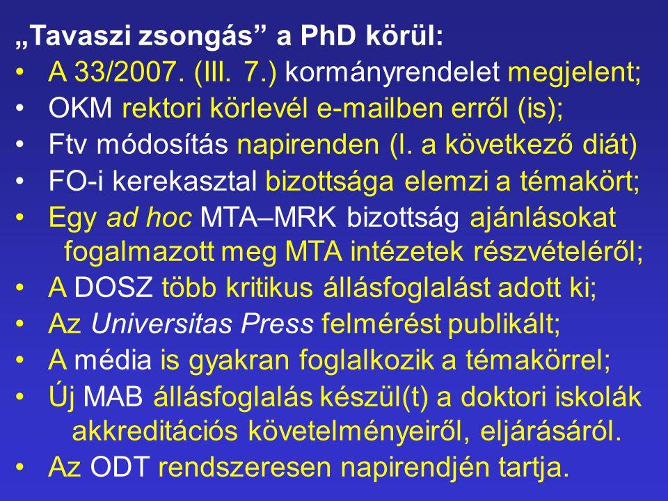 """""""Tavaszi zsongás a PhD körül: A 33/2007. (III."""