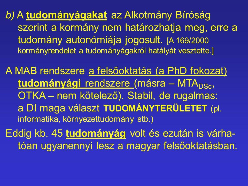 b) A tudományágakat az Alkotmány Bíróság szerint a kormány nem határozhatja meg, erre a tudomány autonómiája jogosult.