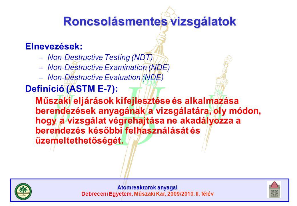 Atomreaktorok anyagai Debreceni Egyetem, Műszaki Kar, 2009/2010. II. félév Roncsolásmentes vizsgálatok Elnevezések: –Non-Destructive Testing (NDT) –No