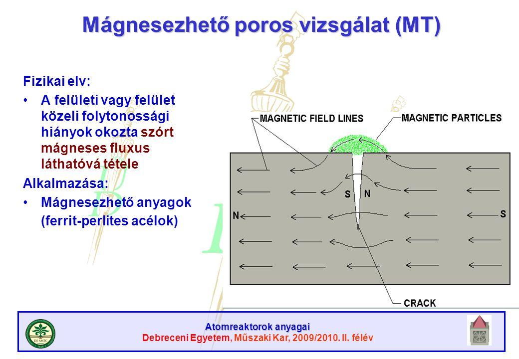 Atomreaktorok anyagai Debreceni Egyetem, Műszaki Kar, 2009/2010. II. félév Mágnesezhető poros vizsgálat (MT) Fizikai elv: A felületi vagy felület köze