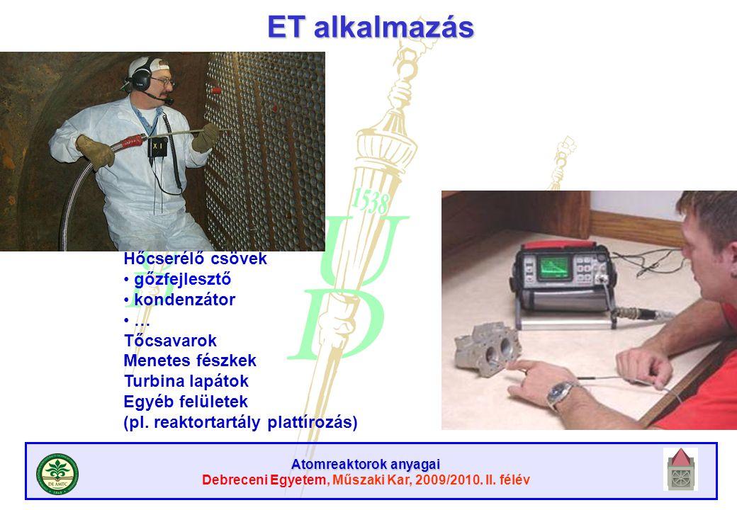Atomreaktorok anyagai Debreceni Egyetem, Műszaki Kar, 2009/2010. II. félév ET alkalmazás Hőcserélő csövek gőzfejlesztő kondenzátor … Tőcsavarok Menete