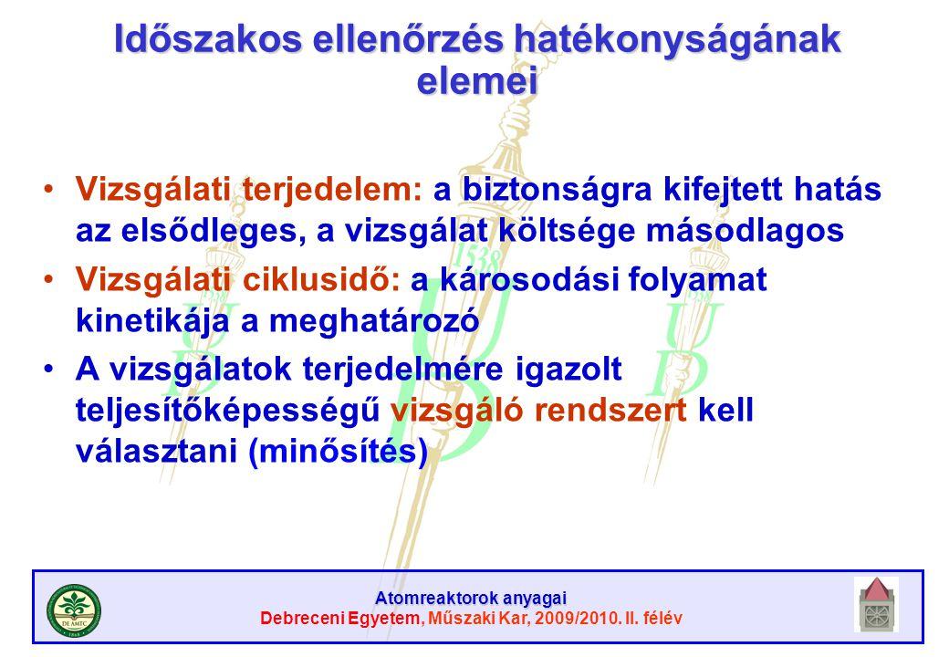 Atomreaktorok anyagai Debreceni Egyetem, Műszaki Kar, 2009/2010. II. félév Időszakos ellenőrzés hatékonyságának elemei Vizsgálati terjedelem: a bizton