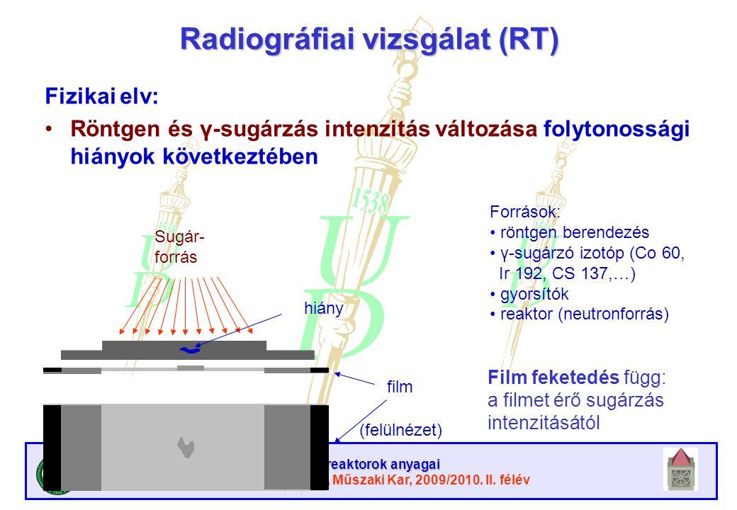 Atomreaktorok anyagai Debreceni Egyetem, Műszaki Kar, 2009/2010. II. félév Radiográfiai vizsgálat (RT) Fizikai elv: Röntgen és γ-sugárzás intenzitás v