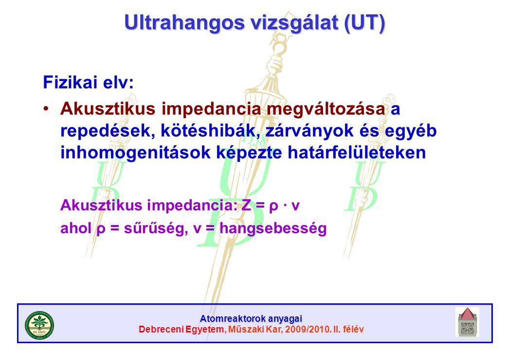 Atomreaktorok anyagai Debreceni Egyetem, Műszaki Kar, 2009/2010. II. félév Ultrahangos vizsgálat (UT) Fizikai elv: Akusztikus impedancia megváltozása