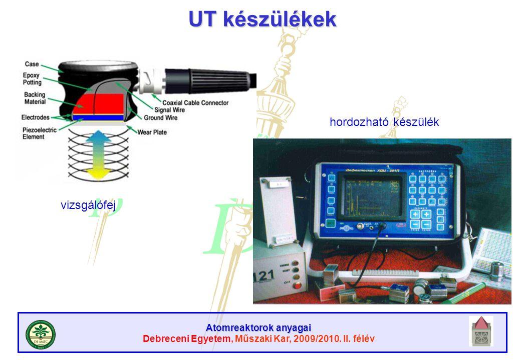 Atomreaktorok anyagai Debreceni Egyetem, Műszaki Kar, 2009/2010. II. félév UT készülékek vizsgálófej hordozható készülék