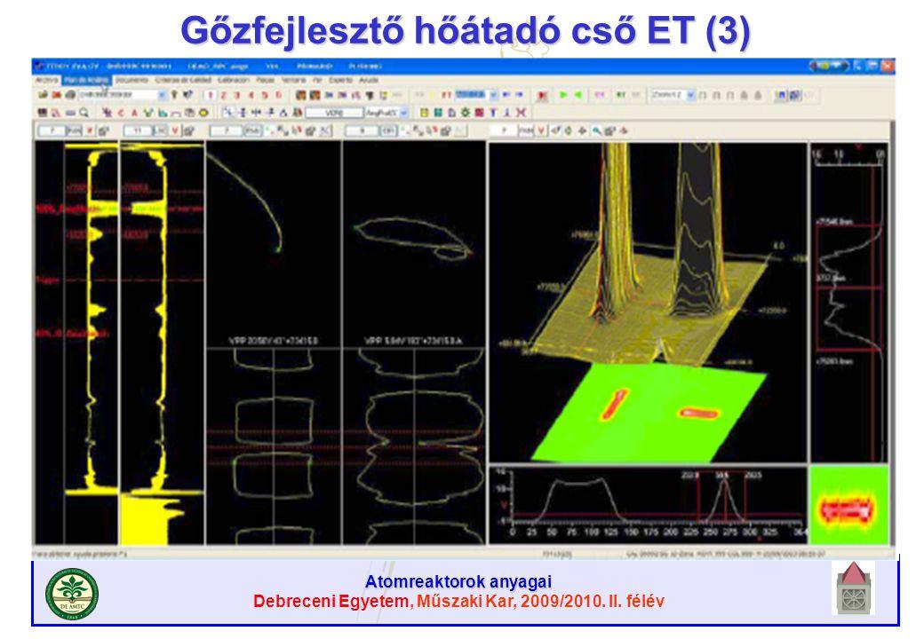 Atomreaktorok anyagai Debreceni Egyetem, Műszaki Kar, 2009/2010. II. félév Gőzfejlesztő hőátadó cső ET (3)