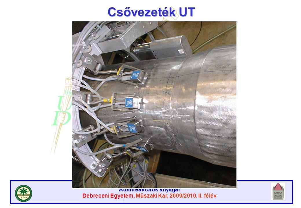 Atomreaktorok anyagai Debreceni Egyetem, Műszaki Kar, 2009/2010. II. félév Csővezeték UT