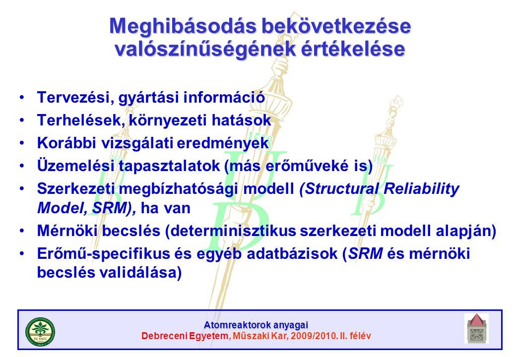 Atomreaktorok anyagai Debreceni Egyetem, Műszaki Kar, 2009/2010. II. félév Meghibásodás bekövetkezése valószínűségének értékelése Tervezési, gyártási