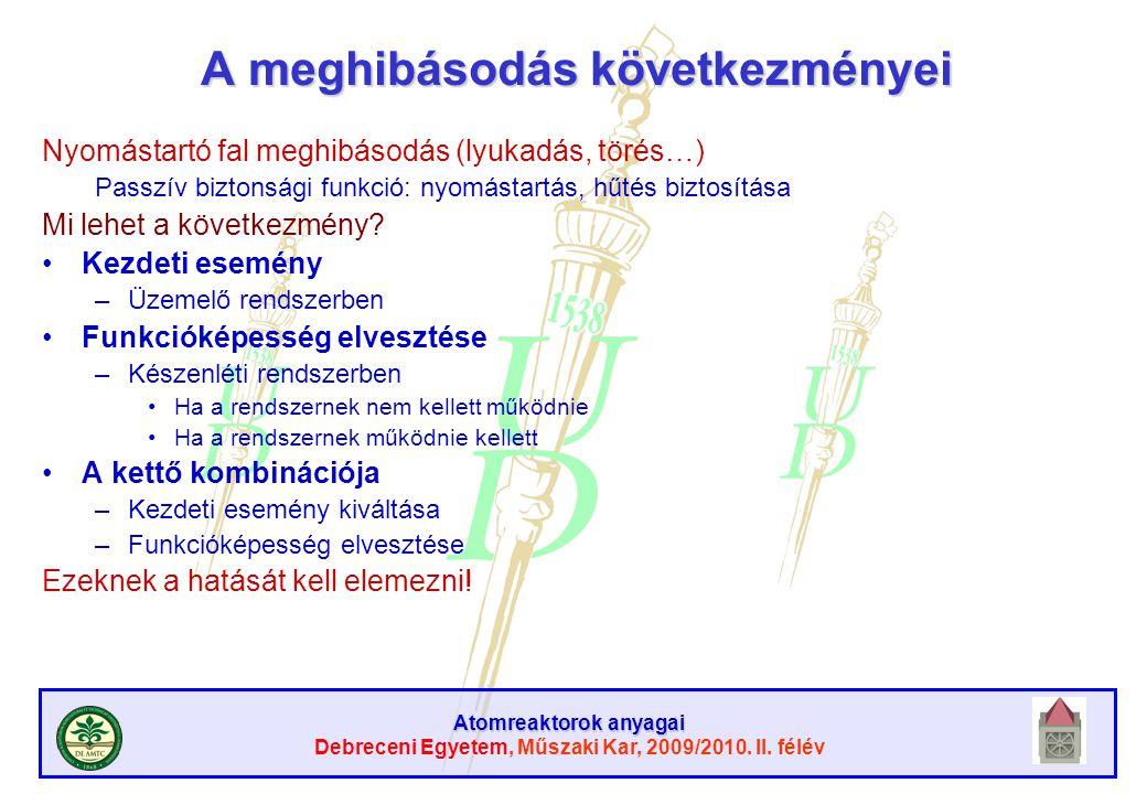 Atomreaktorok anyagai Debreceni Egyetem, Műszaki Kar, 2009/2010. II. félév A meghibásodás következményei Nyomástartó fal meghibásodás (lyukadás, törés