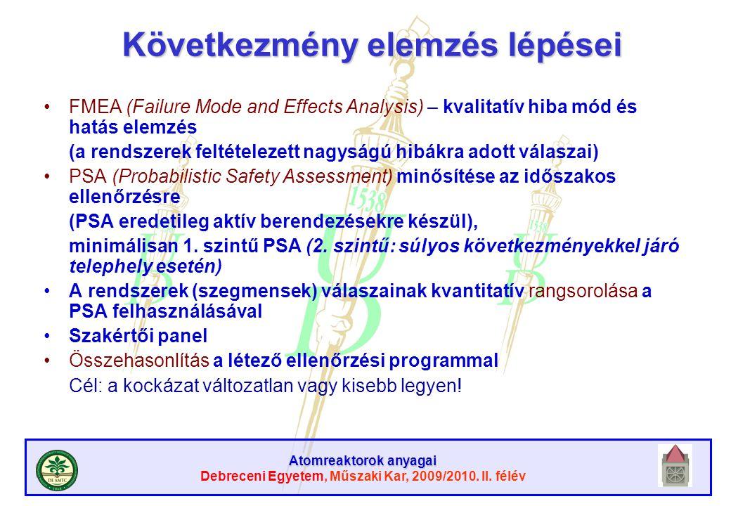 Atomreaktorok anyagai Debreceni Egyetem, Műszaki Kar, 2009/2010. II. félév Következmény elemzés lépései FMEA (Failure Mode and Effects Analysis) – kva