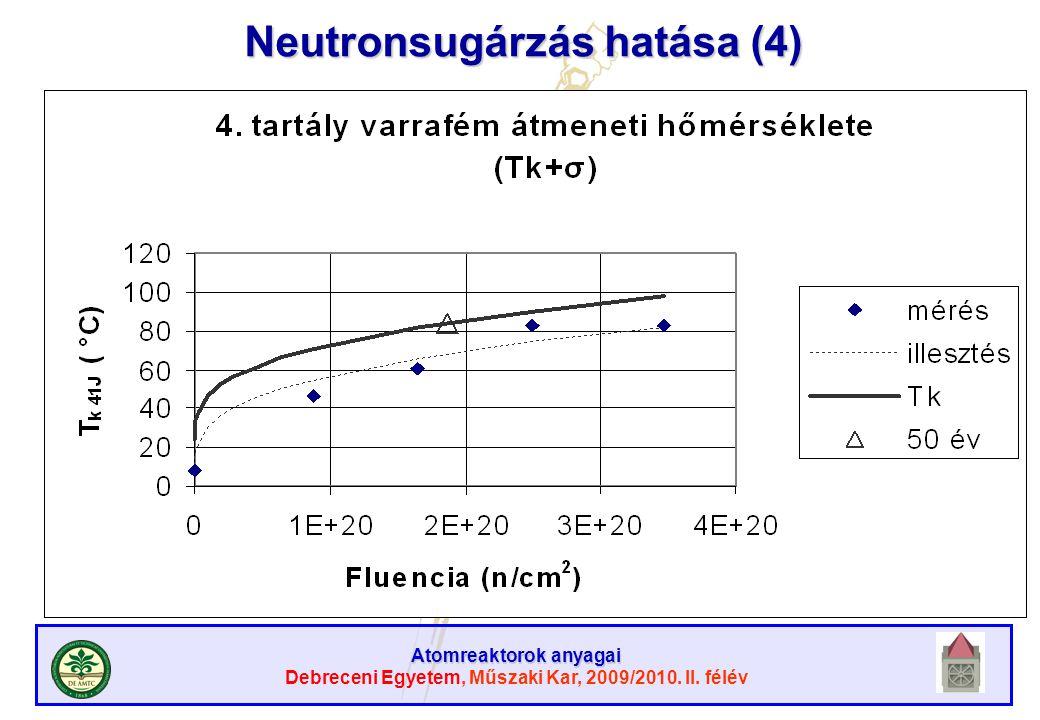 Atomreaktorok anyagai Debreceni Egyetem, Műszaki Kar, 2009/2010. II. félév Neutronsugárzás hatása (4)