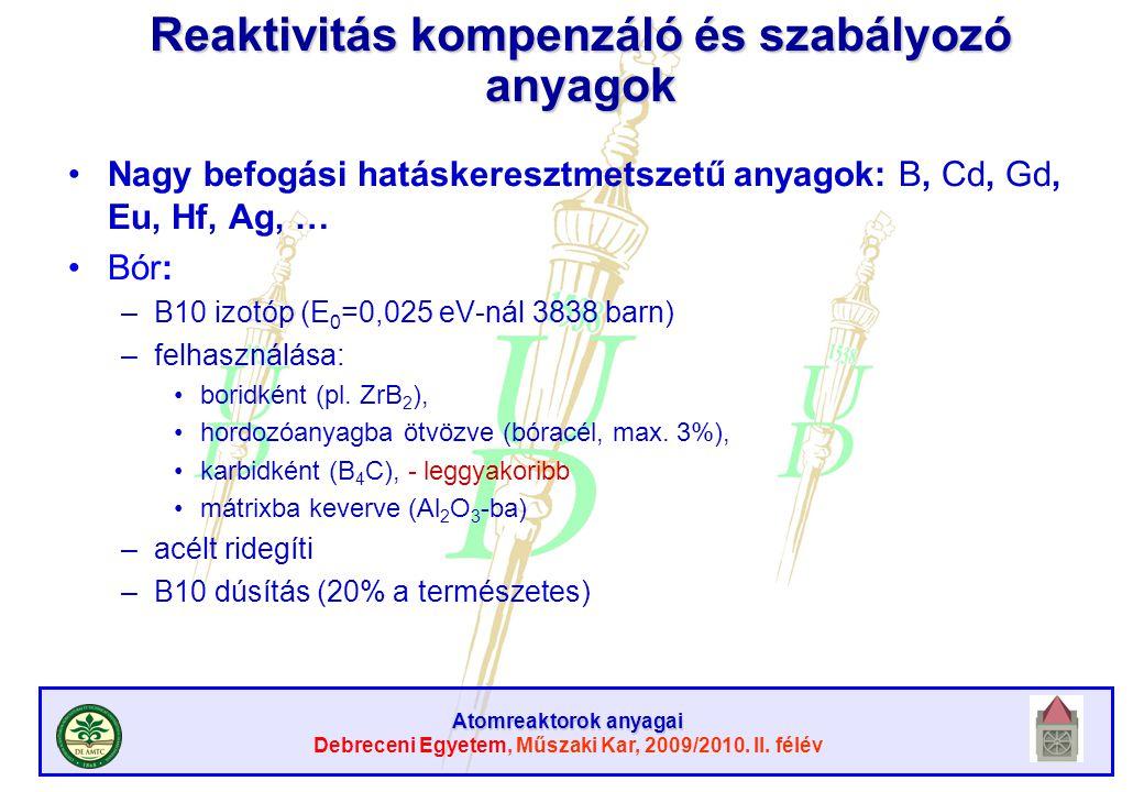 Atomreaktorok anyagai Debreceni Egyetem, Műszaki Kar, 2009/2010. II. félév Reaktivitás kompenzáló és szabályozó anyagok Nagy befogási hatáskeresztmets