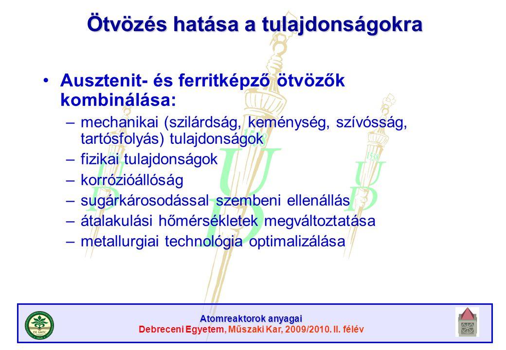 Atomreaktorok anyagai Debreceni Egyetem, Műszaki Kar, 2009/2010. II. félév Ötvözés hatása a tulajdonságokra Ausztenit- és ferritképző ötvözők kombinál
