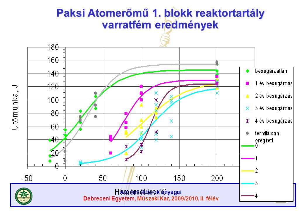 Atomreaktorok anyagai Debreceni Egyetem, Műszaki Kar, 2009/2010. II. félév Paksi Atomerőmű 1. blokk reaktortartály varratfém eredmények
