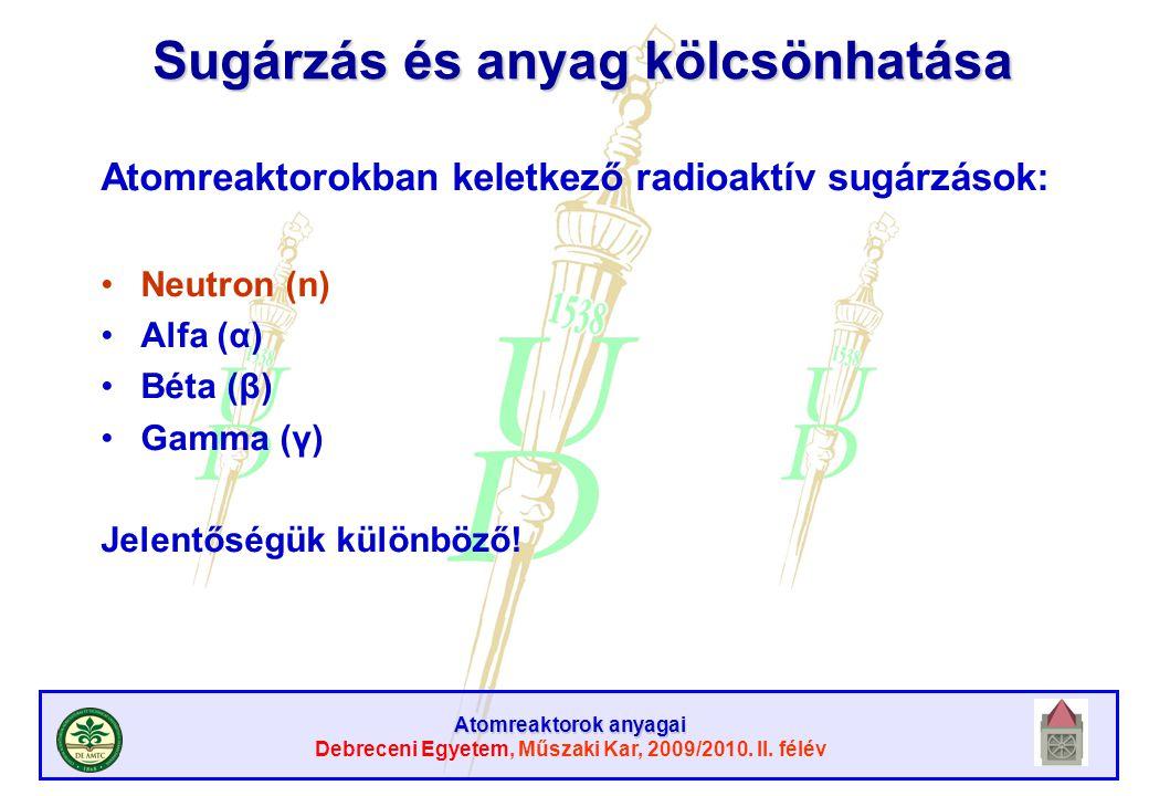 Atomreaktorok anyagai Debreceni Egyetem, Műszaki Kar, 2009/2010. II. félév Sugárzás és anyag kölcsönhatása Atomreaktorokban keletkező radioaktív sugár