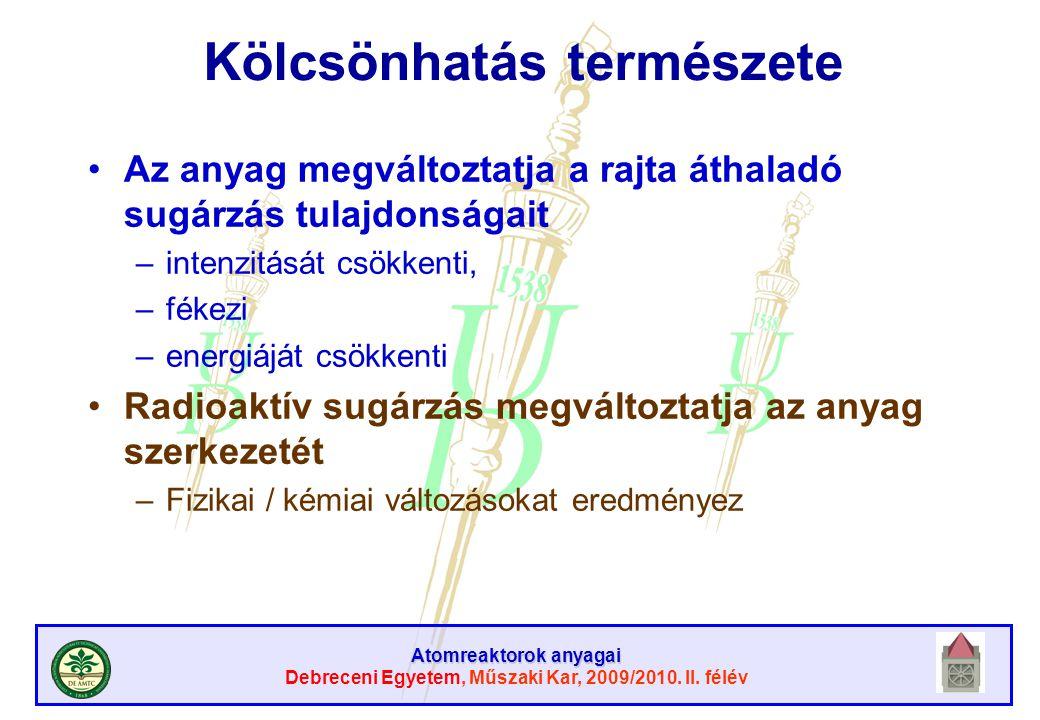 Atomreaktorok anyagai Debreceni Egyetem, Műszaki Kar, 2009/2010. II. félév Kölcsönhatás természete Az anyag megváltoztatja a rajta áthaladó sugárzás t
