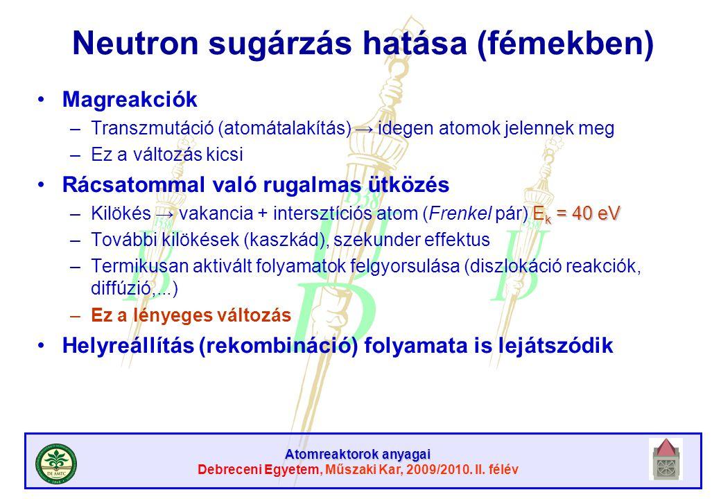 Atomreaktorok anyagai Debreceni Egyetem, Műszaki Kar, 2009/2010. II. félév Neutron sugárzás hatása (fémekben) Magreakciók –Transzmutáció (atomátalakít