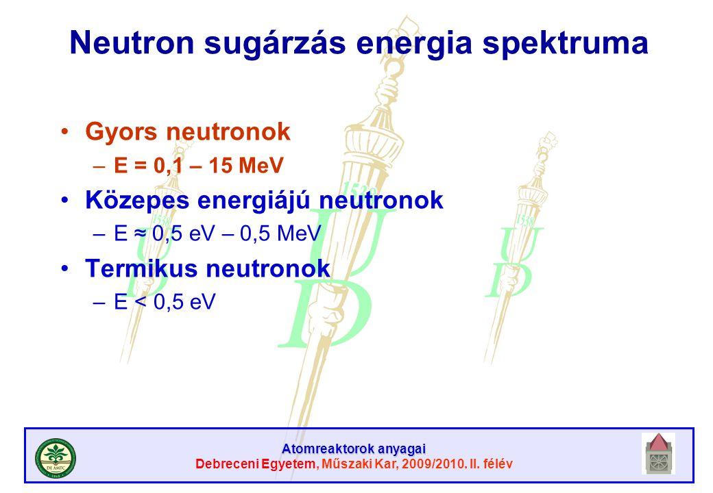 Atomreaktorok anyagai Debreceni Egyetem, Műszaki Kar, 2009/2010. II. félév Neutron sugárzás energia spektruma Gyors neutronok –E = 0,1 – 15 MeV Közepe