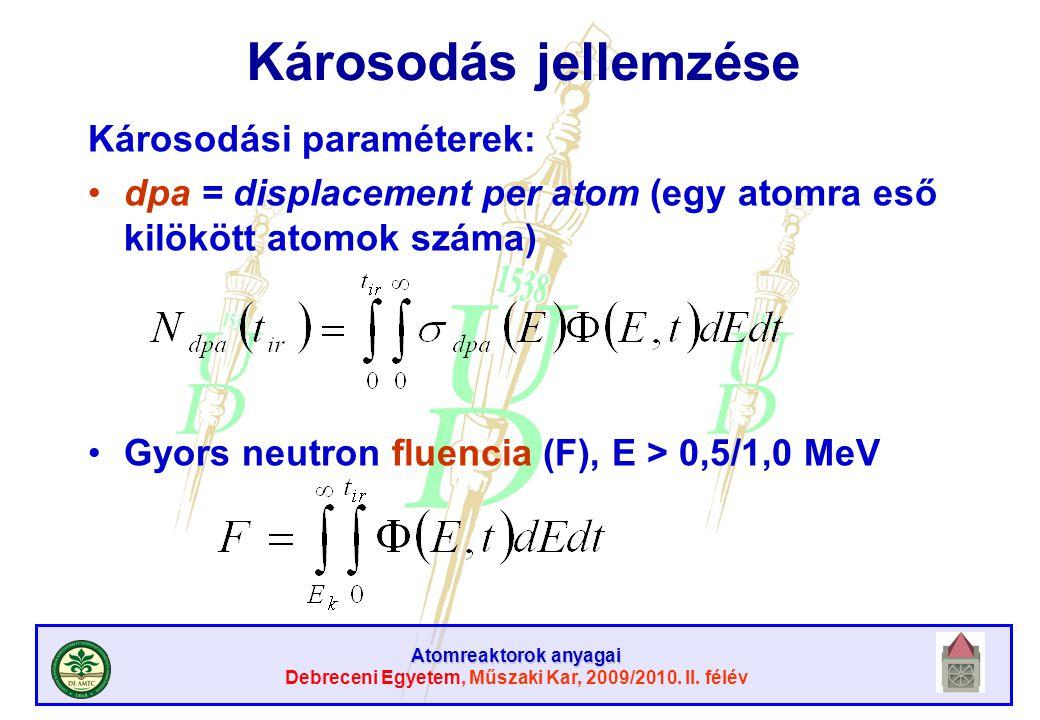 Atomreaktorok anyagai Debreceni Egyetem, Műszaki Kar, 2009/2010. II. félév Károsodás jellemzése Károsodási paraméterek: dpa = displacement per atom (e