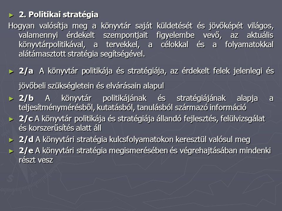► 2. Politikai stratégia Hogyan valósítja meg a könyvtár saját küldetését és jövőképét világos, valamennyi érdekelt szempontjait figyelembe vevő, az a