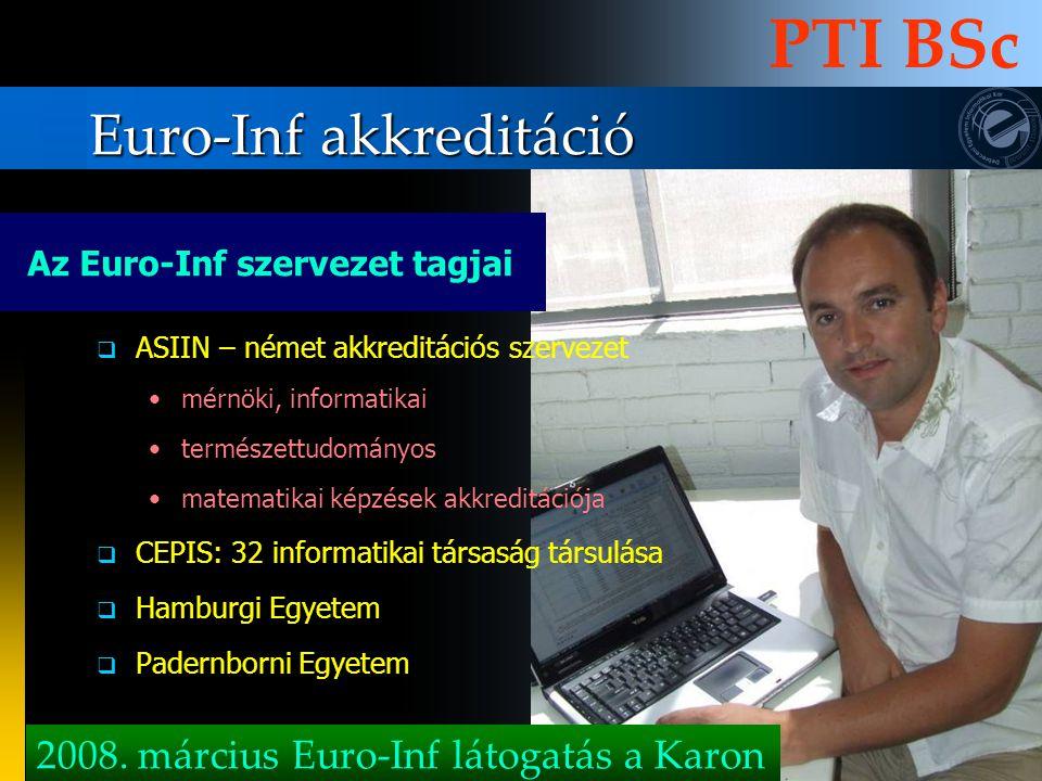Euro-Inf akkreditáció PTI BSc AASIIN – német akkreditációs szervezet mérnöki, informatikai természettudományos matematikai képzések akkreditációja 