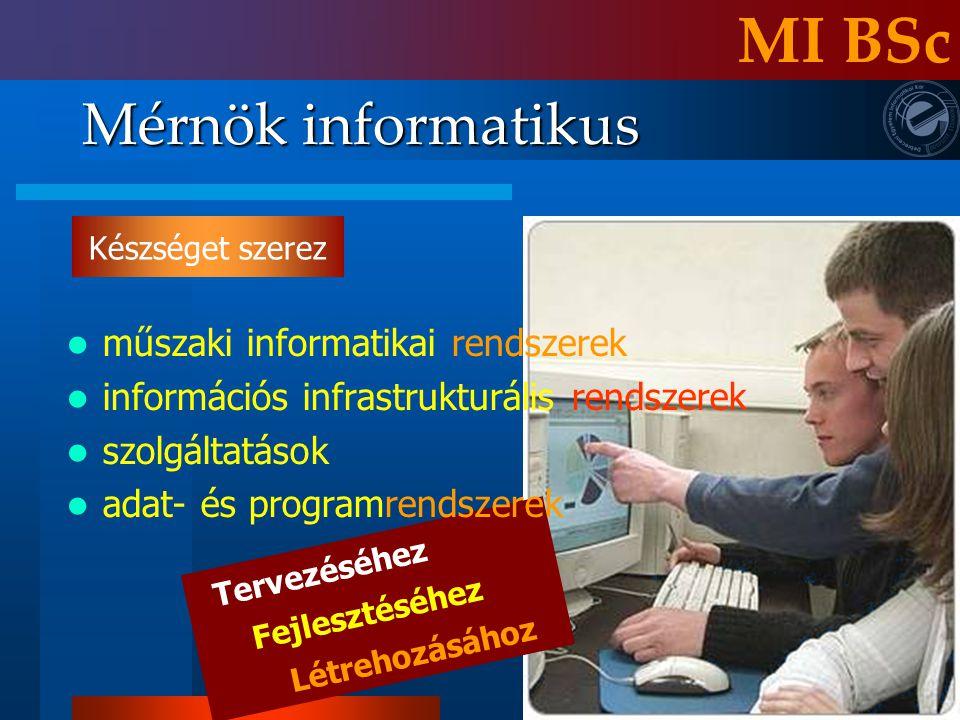 Mérnök informatikus MI BSc Tervezéséhez Fejlesztéséhez Létrehozásához műszaki informatikai rendszerek információs infrastrukturális rendszerek szolgál