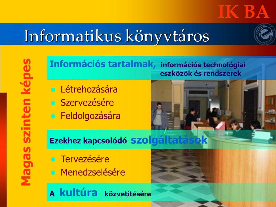 Informatikus könyvtáros IK BA Magas szinten képes Létrehozására Szervezésére Feldolgozására Tervezésére Menedzselésére Ezekhez kapcsolódó szolgáltatás