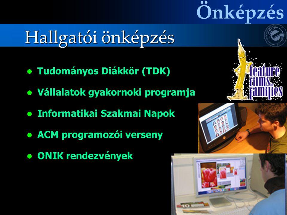 Hallgatói önképzés Tudományos Diákkör (TDK) Vállalatok gyakornoki programja Informatikai Szakmai Napok ACM programozói verseny ONIK rendezvények Önkép