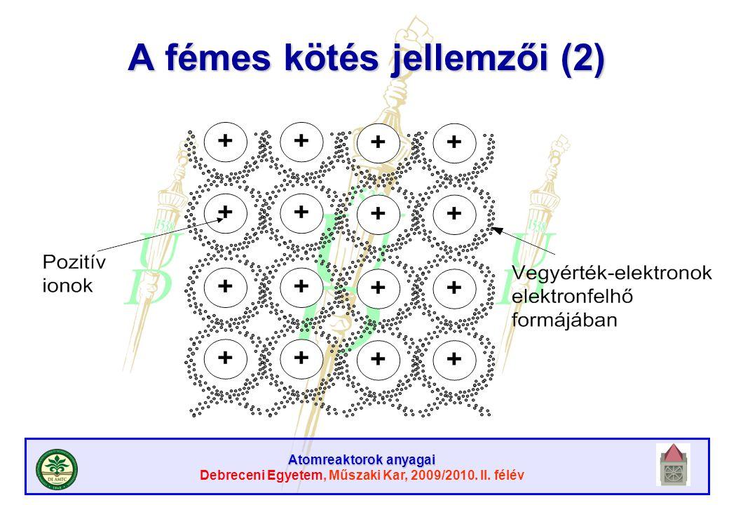 Atomreaktorok anyagai Debreceni Egyetem, Műszaki Kar, 2009/2010. II. félév A fémes kötés jellemzői (2)