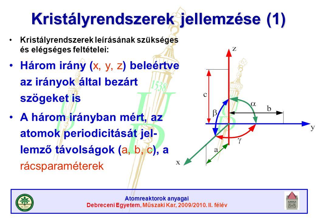 Atomreaktorok anyagai Debreceni Egyetem, Műszaki Kar, 2009/2010. II. félév Kristályrendszerek jellemzése (1) Kristályrendszerek leírásának szükséges é