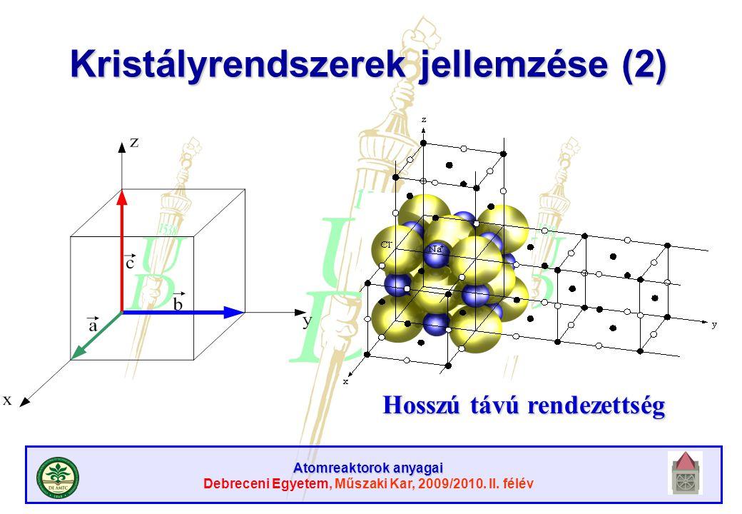 Atomreaktorok anyagai Debreceni Egyetem, Műszaki Kar, 2009/2010. II. félév Kristályrendszerek jellemzése (2) Hosszú távú rendezettség