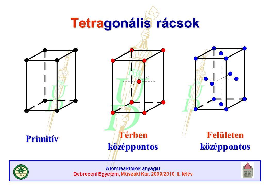 Atomreaktorok anyagai Debreceni Egyetem, Műszaki Kar, 2009/2010. II. félév Tetragonális rácsok Primitív Térben középpontos Felületen középpontos