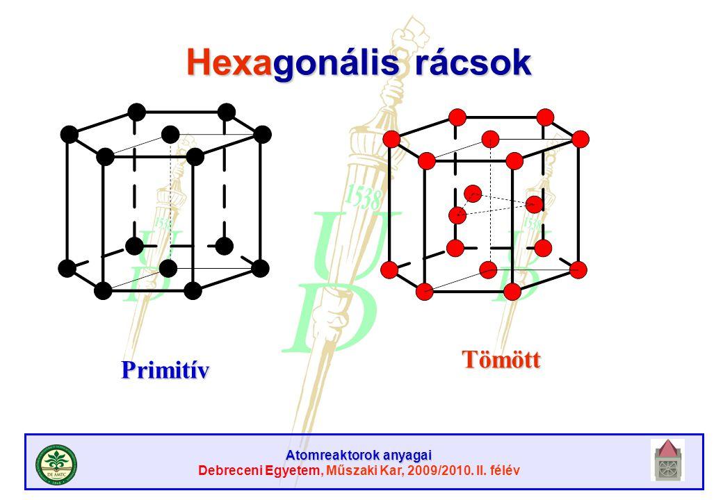 Atomreaktorok anyagai Debreceni Egyetem, Műszaki Kar, 2009/2010. II. félév Hexagonális rácsok Primitív Tömött