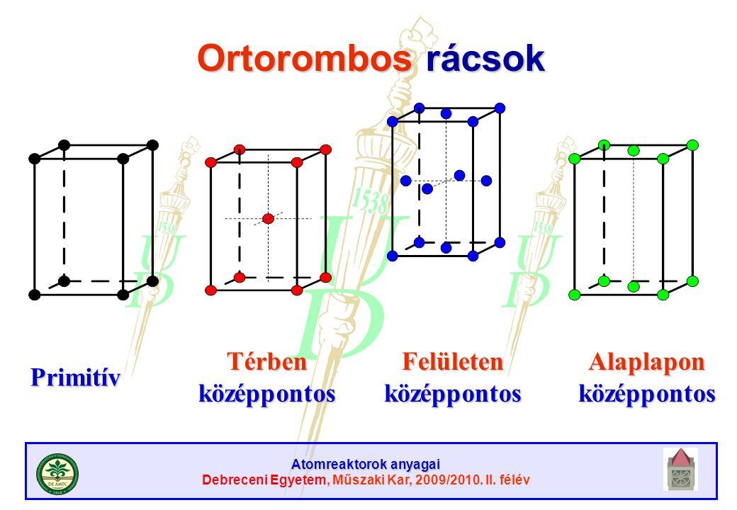 Atomreaktorok anyagai Debreceni Egyetem, Műszaki Kar, 2009/2010. II. félév Ortorombos rácsok Primitív Térben középpontos Felületen középpontos Alaplap