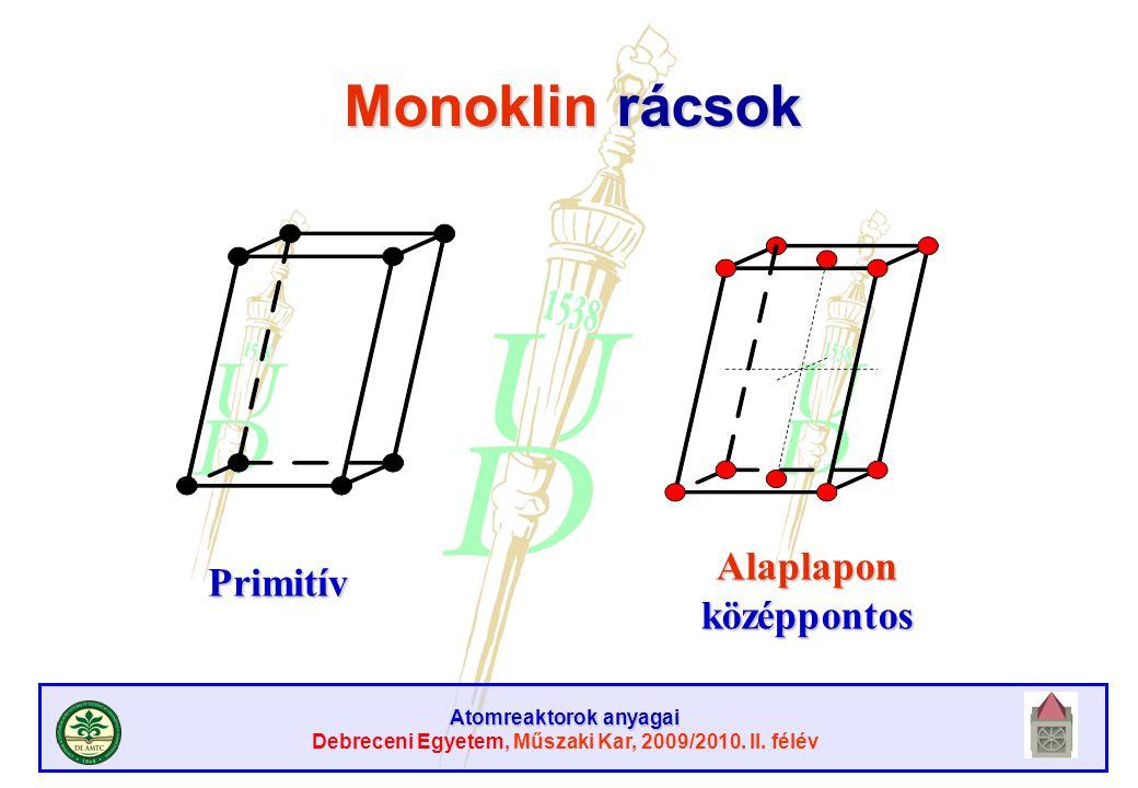 Atomreaktorok anyagai Debreceni Egyetem, Műszaki Kar, 2009/2010. II. félév Monoklin rácsok Primitív Alaplapon középpontos